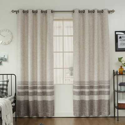 Aurora Home Striped Shimmer Taffeta Weave Grommet Curtain Panel Pair - Overstock