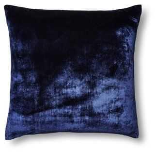 Silk Velvet/Chambray Pillow - One Kings Lane