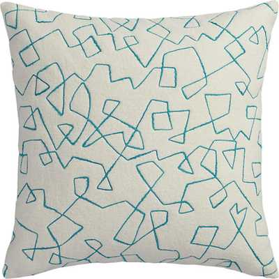 "Binx 18"" pillow with down-alternative insert - Bright teal & Ivory - CB2"