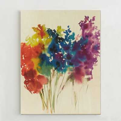 Floral Watercolor + Birch Wall Art - West Elm