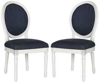 Navy Hunter Side Chairs, Pair - One Kings Lane