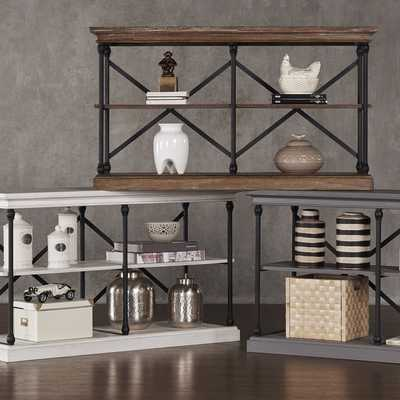 INSPIRE Q Barnstone Cornice Iron and Wood Sofa Table Media Stand Consol - Overstock