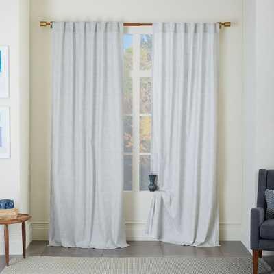 """Cotton Canvas Chambray Print Curtain - Platinum, 96"""" - West Elm"""
