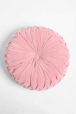 """Round Pintuck Pillow - Pink - 16"""" SQ. - Poly fill insert - Urban Outfitters"""