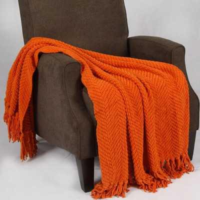Tweed Knitted Throw Blanket - Burnt Orange - Wayfair