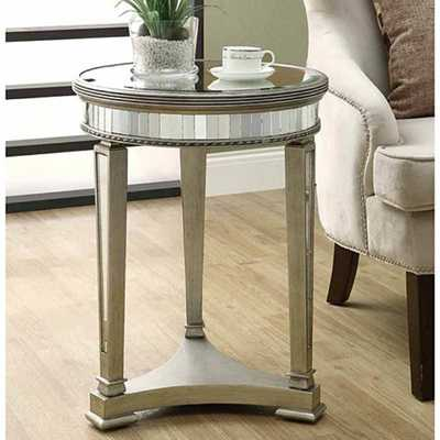 Mirrored Round Accent Table - brookstone.com