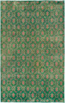 Hand-knotted Anatolian Overdyed Green Wool Rug - Domino