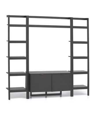 Sawyer Grey Leaning Media Stand with Two 18'' Bookcases - Crate and Barrel