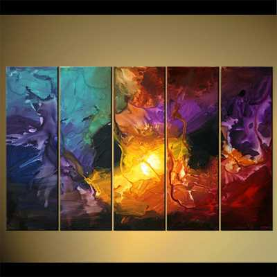 "Modern Abstract Painting Colorful Acrylic Art on Canvas by Osnat - MADE-TO-ORDER - 60""x36"" - Etsy"
