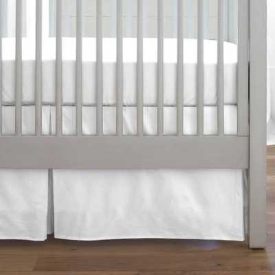 "Solid White Crib Skirt Box Pleat-14""L - babybedding.com"