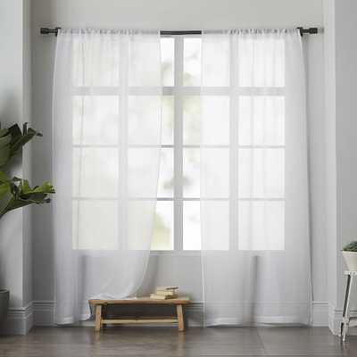 "Sheer Linen Curtain - White - 124"" Set of 2 - West Elm"