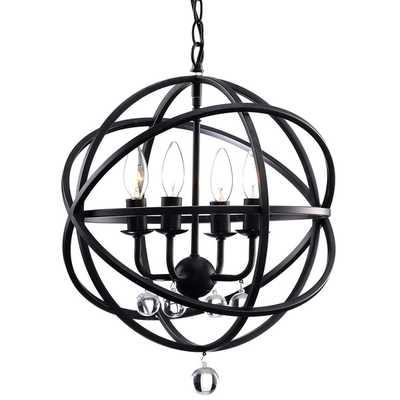 Benita Antique Black Metal Sphere 4-light Crystal Chandelier - Overstock