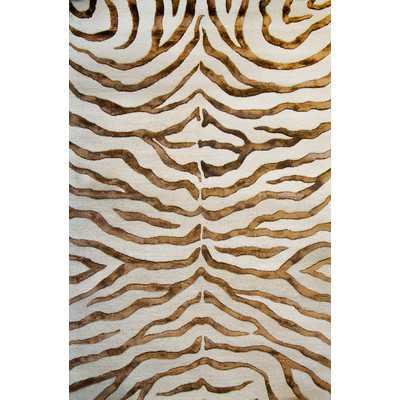 Earth Safari Zebra Print with Faux Silk Highlights Area Rug by nuLOOM - Wayfair