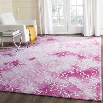 Safavieh Hand-Tufted Dip Dye Rose/ Ivory Wool Rug (5' x 8') - Overstock