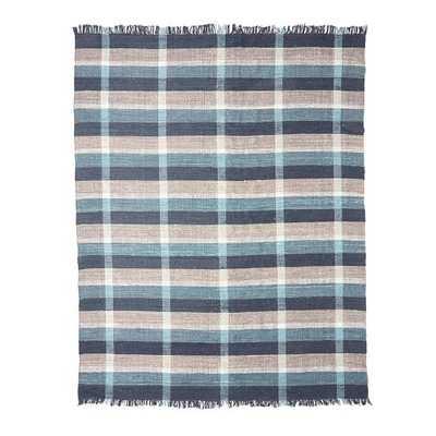 Mid-Century Rustic Cotton Plaid Rug - Belgium Blue - 9' x 12' - West Elm