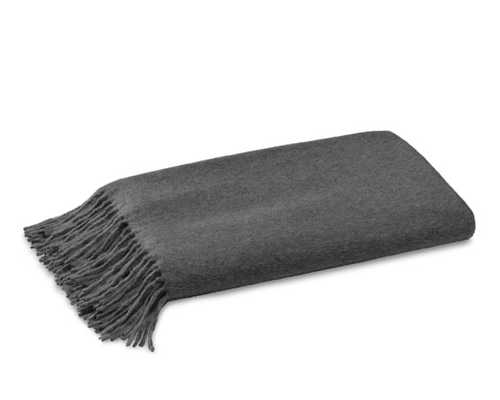 Solid Cashmere Throw, Charcoal - Williams Sonoma