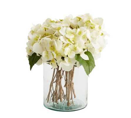 White Hydrangea Arrangement in Clear Glass Vase - Pottery Barn