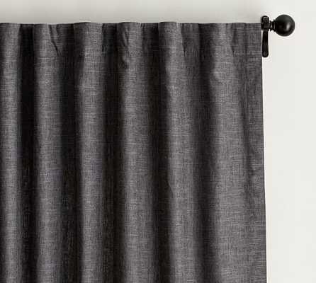 "Emery Linen/Cotton Drape - Single Width,  Cotton lining, Gray, 84"" - Pottery Barn"
