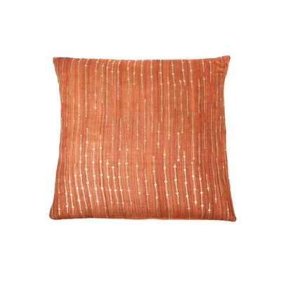 "Trendsage Sequins Orange Decorative Accent Pillow -  20""w x 20""l - Feather insert - Overstock"