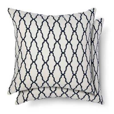 2-Pack Trellis Toss Pillows - Blue - 18Sq. - Polyester fill - Target