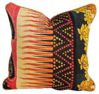 Indian Kantha Pillow, Pink/Black/Gold - One Kings Lane
