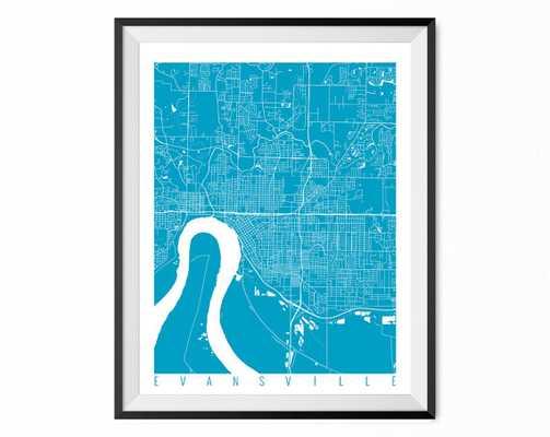 "EVANSVILLE Map - Wall Art Decor, 16"" x 20"" - Framed - Etsy"