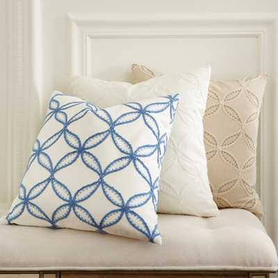 """Edith Embroidered 18''x 18"""" White Pillow Cover - Without insert - Birch Lane"""