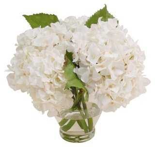 "12"" Hydrangea in Vase, Faux - One Kings Lane"