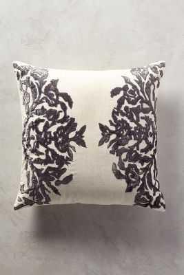 """Vining Velvet Pillow - 20"""" x 20"""" - Polyfill. Dark Grey - Anthropologie"""