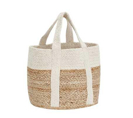 White Woven Jute Basket, Small - Pottery Barn Kids
