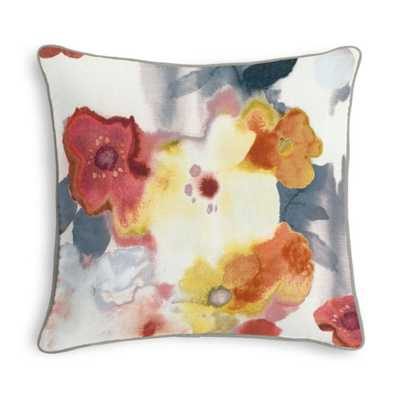 """Coral, Pink & Gray Watercolor Floral Custom Throw Pillow - 20""""x20"""" - Domino"""