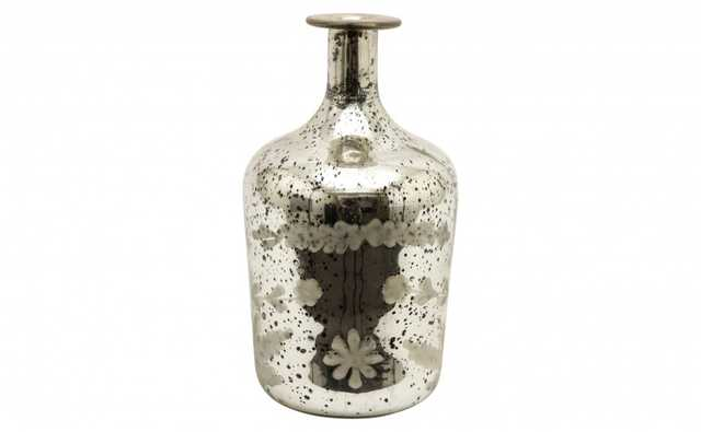 ETCHED MERCURY GLASS BOTTLE - B - Jayson Home