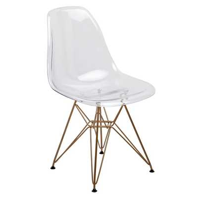 American Atelier Living Clear Seat Gold Legs Banks Chair - Overstock
