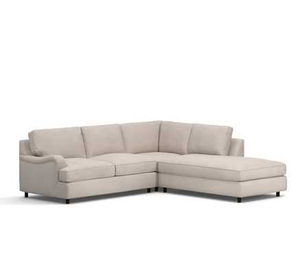 Left 3-Piece Bumper Sectional - Washed Linen/Cotton, Silver Taupe - Pottery Barn