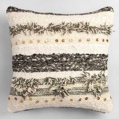 "Gray Wedding Blanket Shag Throw Pillow - 20""Sq. - Polyester insert - World Market/Cost Plus"