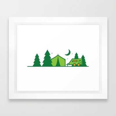 """Camping Illustration - Green - 12"""" x 10"""" - Framed - Society6"""