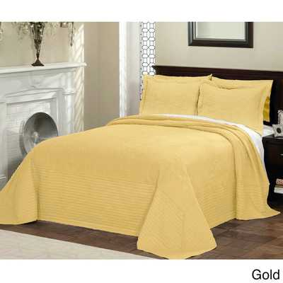 Vibrant Solid-colored Cotton Quilted French Tile Bedspread - Overstock
