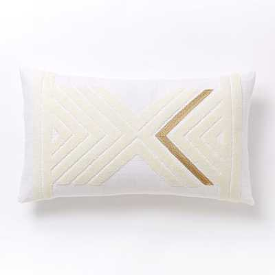 """Mirrored Chevron Pillow Cover -Stone White/Gold - 12"""" x 21"""" - Insert Sold Separately - West Elm"""