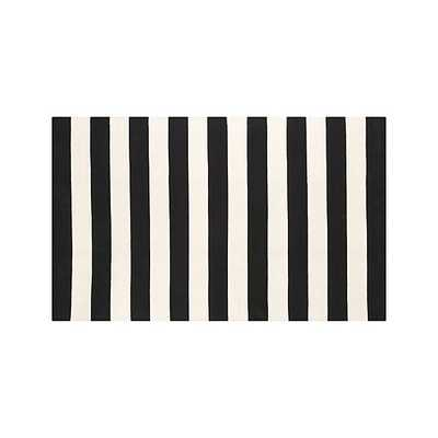 Olin Black Striped Cotton Dhurrie  Rug - Crate and Barrel