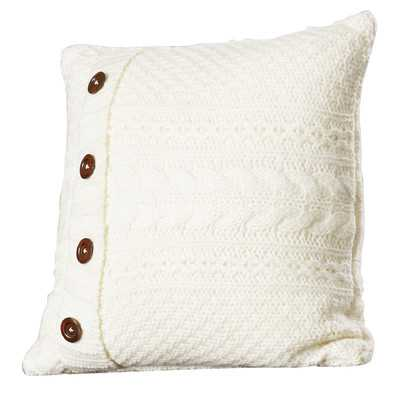 "Cable Knit Throw Pillow-18"" x 18"" -Ivory-Down/Feather - Wayfair"