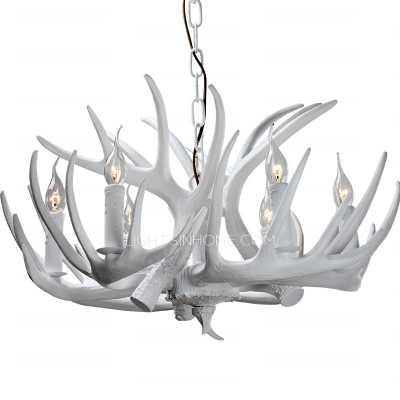 Antler Chandeliers 6-Light White Dinning Room Resin - Lightsinhome