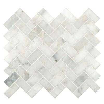 Arabescato Carrara Herringbone Mosaic Tile - Home Depot