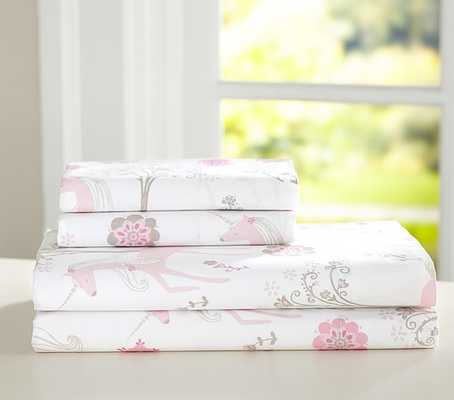 Paige Unicorn Sheet Set - Full - Pottery Barn Kids