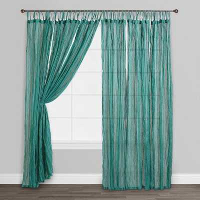 Blue Crinkle Voile Cotton Curtains, Set of 2 - World Market/Cost Plus