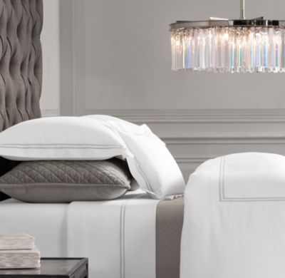 ITALIAN HOTEL SATIN STITCH WHITE DUVET COVER-King - RH