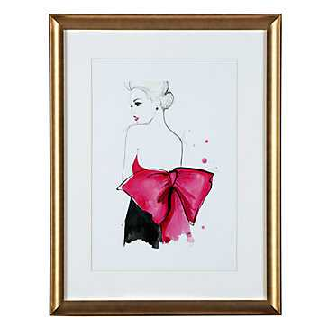 Dior Pink Bow - 20.25''W x 26.25''H - Gold frame with Mat - Z Gallerie
