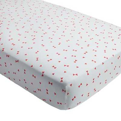 Pink Triangle Go Lightly Crib Fitted Sheet - Land of Nod