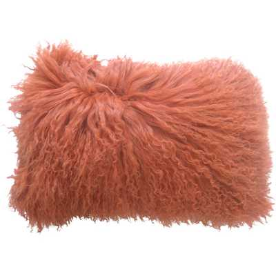 Lamb Fur Throw Pillow - Orange - Wayfair
