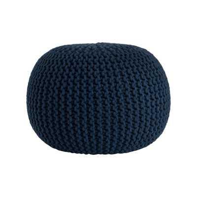 Saro Cotton Twisted Rope Pouf Ottoman - Navy Blue - Wayfair