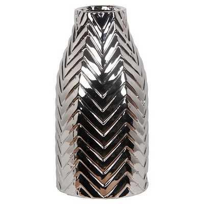 Privilege Medium Ceramic Chevron Vase - Silver - Target